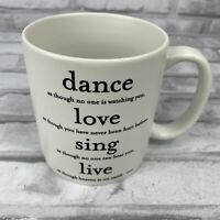 Quotable Mug Souza Dance Love Sing Live Coffee Tea Cup Ceramic Cream White