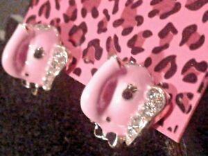BETSEY JOHNSON ENAMEL PINK ELEPHANT STUD EAR RINGS-FREE GIFT BOX