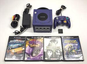 Nintendo Gamecube Console Bundle W/ Controller 4 Games Purple Tested READ