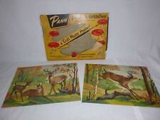Pr Vtg 1950's Paint By Number Craft Master Deer Haven 14x10 Pann Products