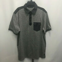 Men's Sean John Short Sleeve Gray Striped Polo Shirt M Medium B27