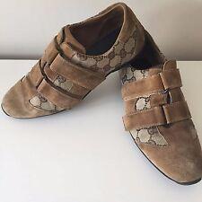 Authenitc Gucci Brown Suede Canvas Velcro Shoes Trainers size 37.5 / 4.5