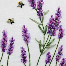 Ribbon Embroidery Kit Wild bee flying in lavender Needlework Craft Kit RE3104