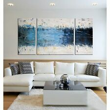 Canvas Wall Art Abstract Hand Painting 3-Piece Modern Living Room White Blue New