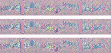 1ST BIRTHDAY/ AGE 1 GIRL PINK WALL FOIL BANNERS (EX)