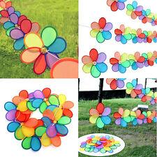 Rainbow Flower Windmill Garden Yard Wind Spinner Festival Outdoor Camping Decor