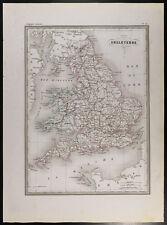 Angleterre : Carte géographique 1846 (Malte-Brun). Gravure ancienne. Galles