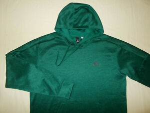 ADIDAS CLIMAWARM DARK GREEN HOODED SWEATSHIRT MENS LARGE EXCELLENT CONDITION