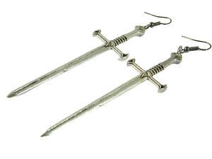 Ohrringe Schwerter Schwert Sword Gothic Mittelalter Larp Ohrhaenger Schmuck Goth