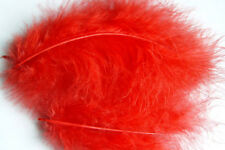 12 x plumes de  MARABOU ROUGE 12 a 17 cm montage mouche fly tying feathers