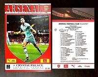 Arsenal v Crystal Palace Premier Leag Programme + Team Sheet  April 2019 21/4/19