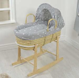Deluxe Palm Moses Basket & Rocking Stand Stylish Natural - Grey / White Stars