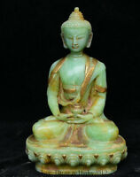 "8"" China Natural Old Green Jade Jadetie Shakyamuni Amitabha Buddha Sculpture"