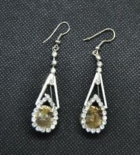 Silver Tone Teardrop Earring With Glass Bead (item #J17)