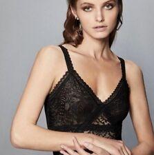 BCBG Max Azria Fifi Floral Lace Bodysuit Black Avr1z651 Size L