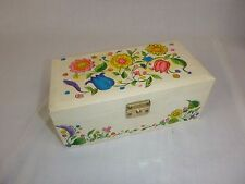 Vtg Groovy MOD Floral Jewelry Music Box w/ Twirling Ballerina Plays Raindrops