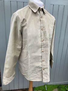 Moleskin shirt pale lovat soft green colour, single pocket, unworn vintage stock