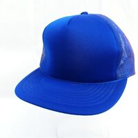 Blue Baseball Cap Snap Back Hat Mesh Trucker Foam Front Adjustable Vintage