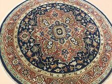 """Persian Oriental Rug Round Serapi Hand Knotted Wool Navy Blue Rust 6'.0"""" X 6'.0"""""""