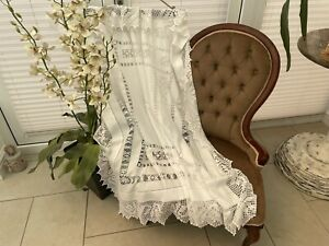 Antique French Cotton Tablecloth Decorative Fine Needlepoint Lace - Perfect!