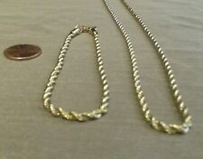 """NEW 2pc Set 14k Gold Filled Stainless Steel 20"""" Rope Necklace + 8"""" Bracelet"""
