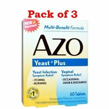 AZO Natural Yeast Symptom Prevention & Relief Tabs, 400 mg, 60 Ct/Box (Pack 3)