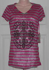 "New! Katydid Pink & Gray V-Neck Rhinestone Tee w/ Faith & Trust ~ S / 32"" Bust"