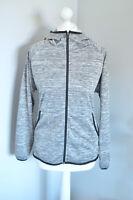 ADIDAS Grey flecked zip up hooded running hoodie, MEDIUM Ladies