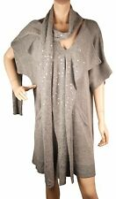 ConMiGo CB100 Glamorous Short Sleeve Grey Angora Sequin Jumper Dress with attach