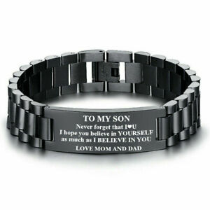 Inspirational To My Son Men Bracelet Byzantine Chain Father Day Gift Frm Dad&Mom