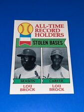 1979 Topps Lou Brock #415 All-Time Record Holders Stolen Bases. Set Break. NM-MI