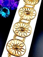 PERFECT SUMMER MONET GLOSSY GOLD-TONE FINISH STYLIZED SUN DESIGN LINK BRACELET