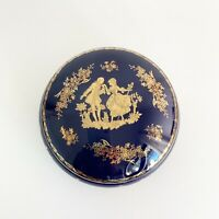 LIMOGES Cobalt Blue 22K Gold Round Trinket Box Courting Couple Porcelain France