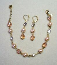JOAN RIVERS GOLD EP ROSE PEARL BEAD CRY R/STONE CHANNEL BRACELET EARRING SET NEW