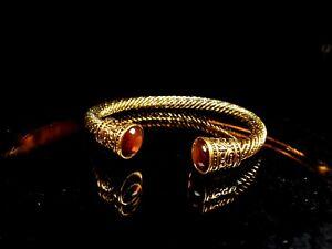 Torque viking bracelet. Elegant tigers eye mens bracelet. Antique gold bangle br