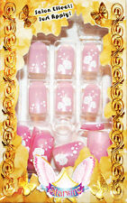 Starsire White Flowers Pretty Pink Japan Acrylic Fake 24 3D Shiny Full Nails