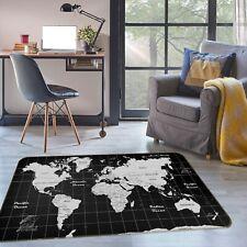 3D Black Square P583 World Map Non Slip Rug Mat Elegant Photo Carpet Kay