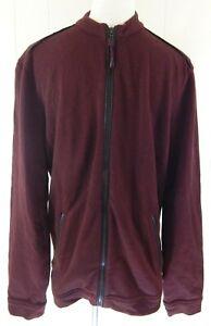 John Varvatos Men's Medium Track Jacket Burgundy Faux Leather Trim Full Zip EUC
