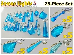 25 TURQUOISE CHANDELIER LIGHT LAMP PARTS TEAL CRYSTALS CUT GLASS DROPLETS PRISMS
