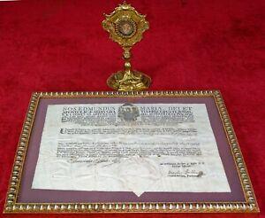 RELIC LIGNUM CRUCIS - TRUE CROSS. ORIGINAL RELIQUARY AND AUTENTICA. AUSTRIA.1786