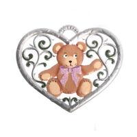 Anhänger aus Zinn, Herz mit Teddybär 6 x 7 cm - Wilhelm Schweizer