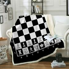 Chess Board Gaming King Queen Sherpa Plush Throw Blanket Fleece Bed Sofa Couch