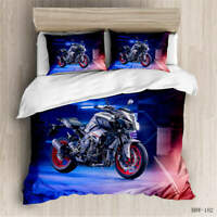 Silver Motorcycle 3D Quilt Duvet Doona Cover Set Single Double Queen King Print