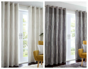 Portfolio Home - Detroit Geometric Lines Eyelet Curtains - Charcoal OR Linen