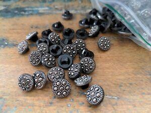 ♥Nr. 93 - Tolle alte Glasknöpfe schwarz silberfarben bedampft 11 mm 16 Stück♥
