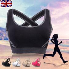 Womens Yoga Sports Running Bra Crop Top Vest Stretch Bras Shapewear Padded UK