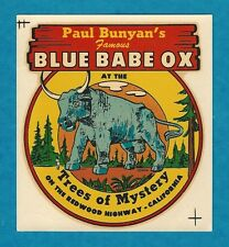 "VINTAGE ORIGINAL 1946 REDWOODS ""BLUE BABE OX"" REQUA CALIFORNIA TRAVEL DECAL ART"