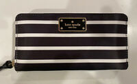 Kate Spade Kaden Wilson Road French Stripe Nylon Zip Around  Wallet WLRU5208