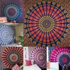 Pfau Mandala Indisch Wandbehang Yoga Raum Deko Baumwolle Tuch 213X238cm
