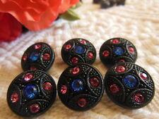 LOT 6 boutons ancien en verre noir strass rose bleu vintage 1,7 cm D5N
